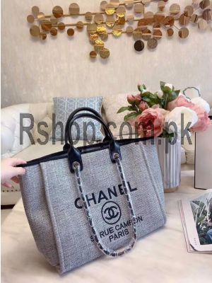Chanel Canvas Deauville Tote Gray Bag ( High Quality ) Price in Pakistan