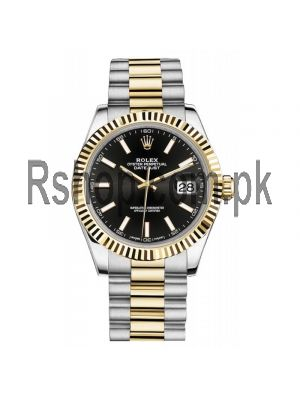 Rolex Datejust Black Dial Two Tone Watch Price in Pakistan