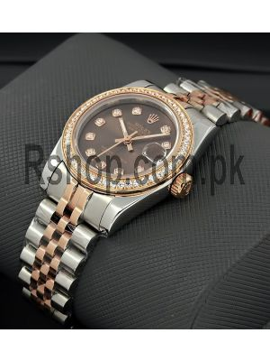 Rolex Lady-Datejust Two Tone Diamond Bezel Watch Price in Pakistan