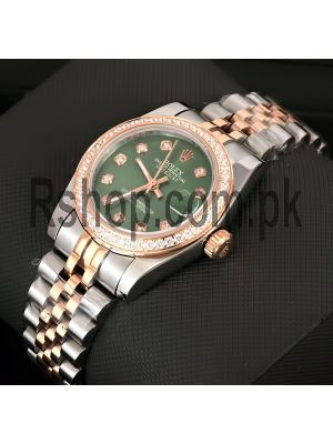 Rolex Lady Datejust Olive Green Dial Diamond Bezel Watch Price in Pakistan